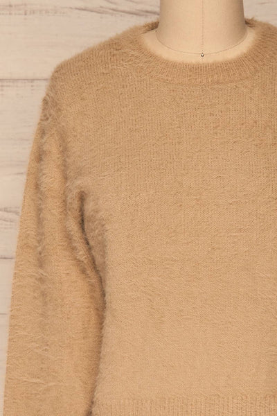 Legnica Taupe Fuzzy Knit Sweater front close up | La Petite Garçonne