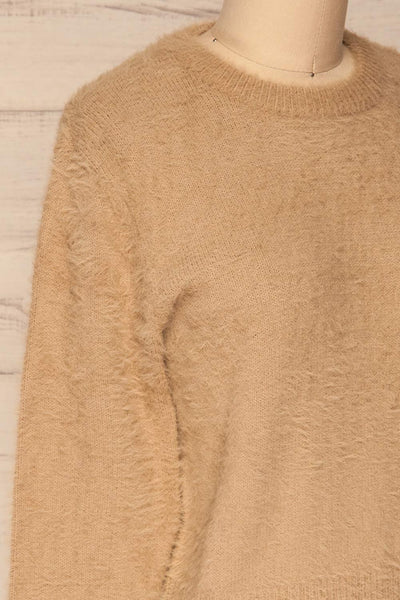 Legnica Taupe Fuzzy Knit Sweater side close up | La Petite Garçonne
