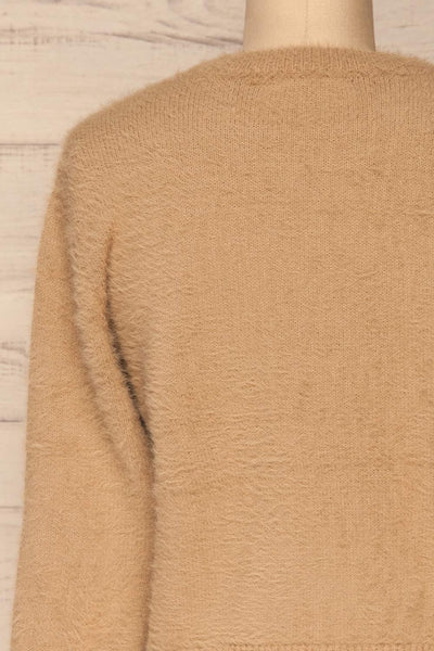 Legnica Taupe Fuzzy Knit Sweater back close up | La Petite Garçonne