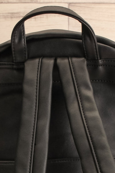 Leila Black Pixie Mood Faux-Leather Backpack strap close-up | La Petite Garçonne