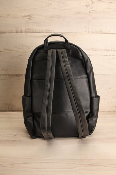 Leila Black Pixie Mood Faux-Leather Backpack back view | La Petite Garçonne