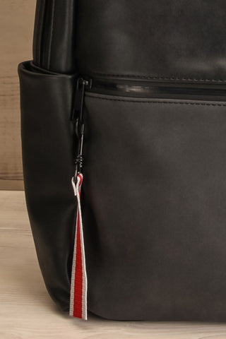 Leila Black Pixie Mood Faux-Leather Backpack front pocket close-up | La Petite Garçonne