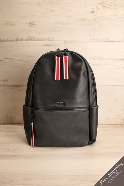 Leila Black Pixie Mood Faux-Leather Backpack front view | La Petite Garçonne