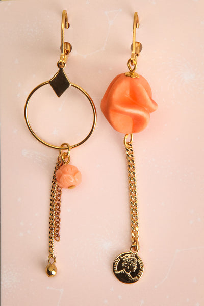Leila Hyams Golden & Peach Pendant Earrings | Boutique 1861 1