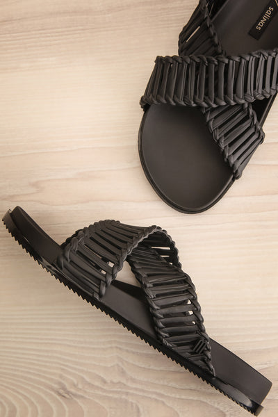 Lelystad Black Slip-On Sandals | La petite garçonne flat view