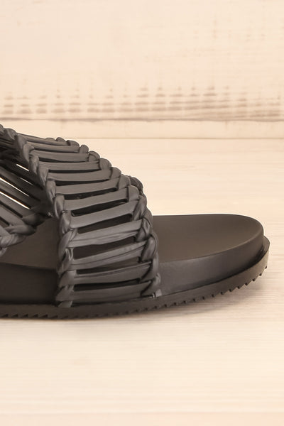 Lelystad Black Slip-On Sandals | La petite garçonne side front close-up