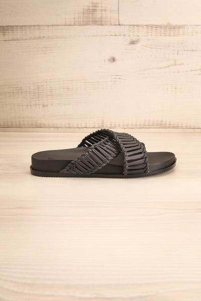 Lelystad Black Slip-On Sandals | La petite garçonne side view