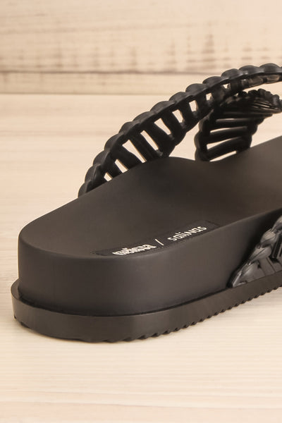 Lelystad Black Slip-On Sandals | La petite garçonne back close-up