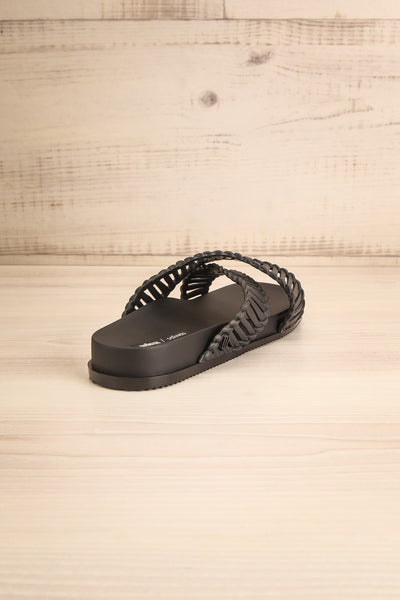 Lelystad Black Slip-On Sandals | La petite garçonne back view