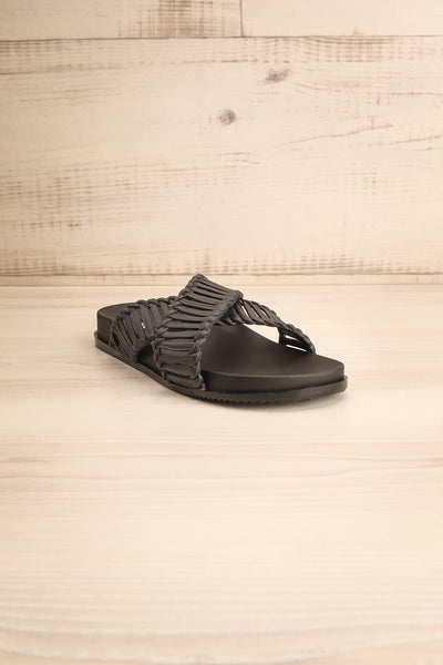 Lelystad Black Slip-On Sandals | La petite garçonne front view