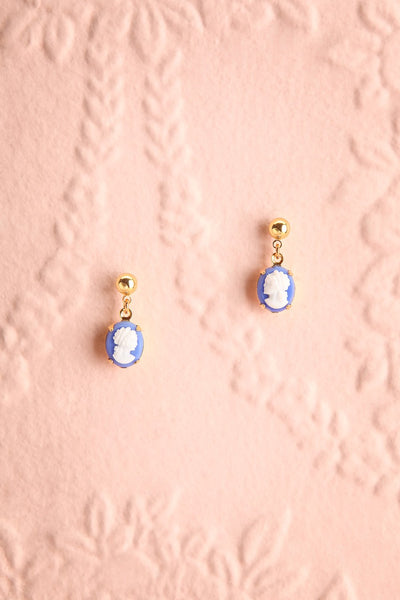 Leonie Arletty Blue Cameo Pendant Earrings | Boutique 1861