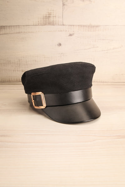 Leorin Black Breton Cap with Faux Leather Details | La Petite Garçonne