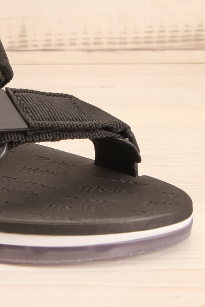 Liberec Black Universal Sandals | La petite garçonne front close-up