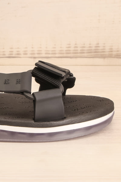 Liberec Black Universal Sandals | La petite garçonne side front close-up