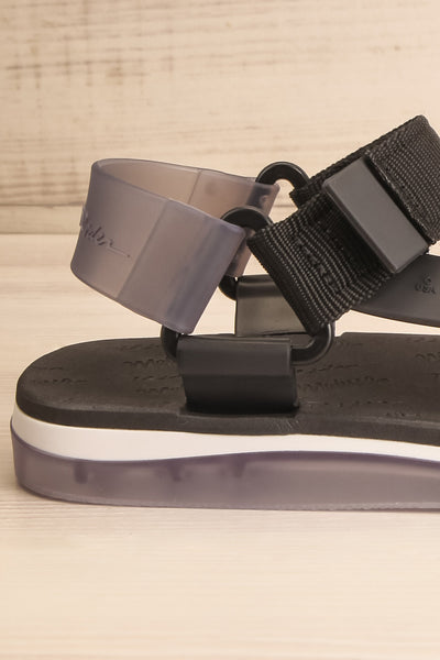 Liberec Black Universal Sandals | La petite garçonne side close-up