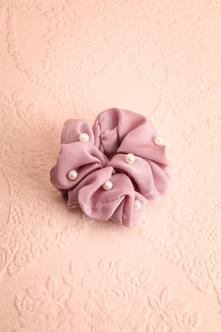 Libra Mauve Soft Satin Hair Scrunchie with Pearls | Boutique 1861