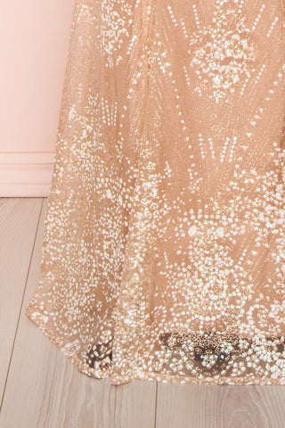 Liesel Blush Plus Size Mermaid Gown | Robe | Boutique 1861 bottom close-up