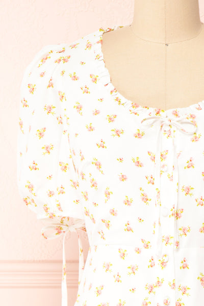 Lifdis White Floral Buttoned Short Dress | Boutique 1861 front close-up