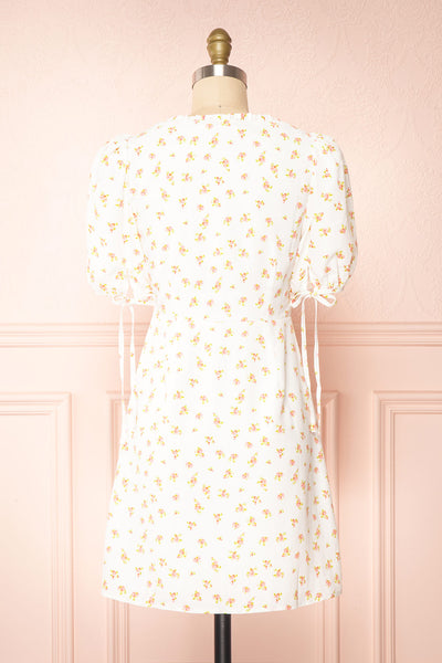 Lifdis White Floral Buttoned Short Dress | Boutique 1861 back view