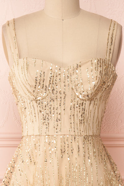 Lilitha Gold Party Dress | Robe Dorée | Boutique 1861 front close-up