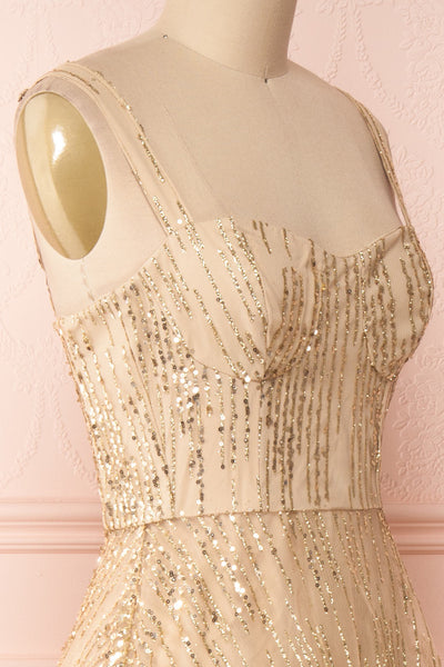 Lilitha Gold Party Dress | Robe Dorée | Boutique 1861 side close-up