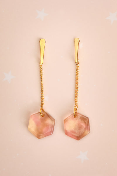 Lily Elsie Smoky Rose Geometric Pendant Earrings | La Petite Garçonne 1