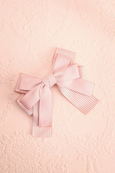 Limodore Pink Striped Double Ribbon Bow Hair Clip | Boutique 1861