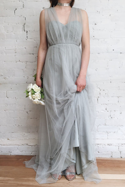 Linaya Charcoal | Bustier Empire Gown