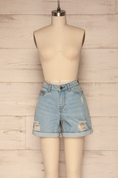 Linongot High Waisted Denim Shorts | La Petit Garçonne front view