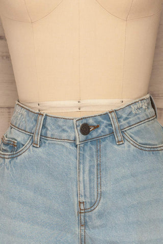 Linongot High Waisted Denim Shorts | La Petit Garçonne front close-up