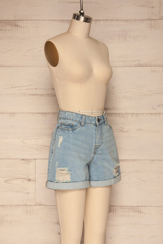 Linongot High Waisted Denim Shorts | La Petit Garçonne side view