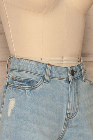Linongot High Waisted Denim Shorts | La Petit Garçonne side close-up