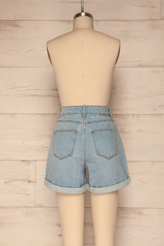 Linongot High Waisted Denim Shorts | La Petit Garçonne back view