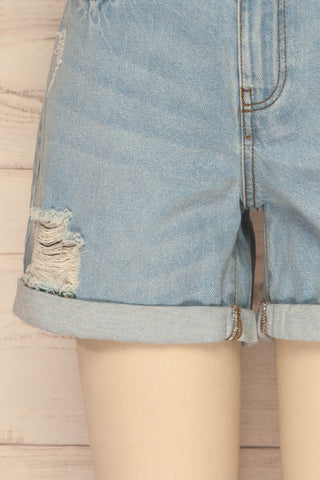 Linongot High Waisted Denim Shorts | La Petit Garçonne bottom close-up