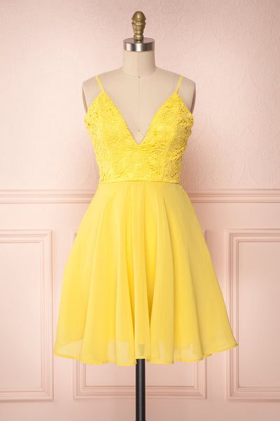 Lio Yellow Lace & Chiffon Short A-Line Dress | Boutique 1861