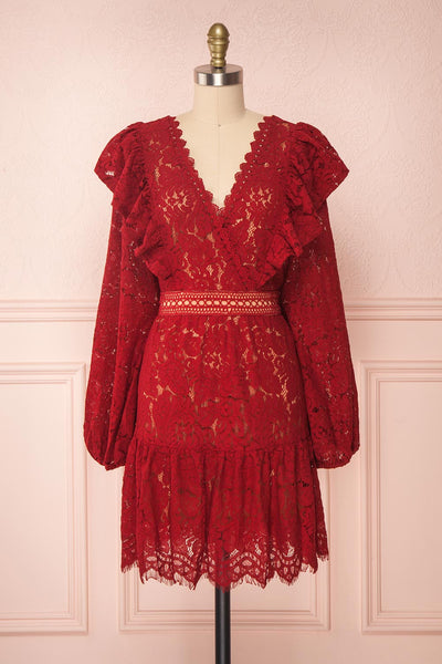 Liriope Red Lace A-Line Dress with Wrap Neckline | Boutique 1861 front view