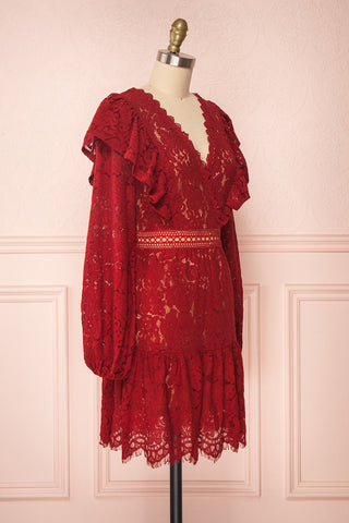 Liriope Red Lace A-Line Dress with Wrap Neckline | Boutique 1861 side view