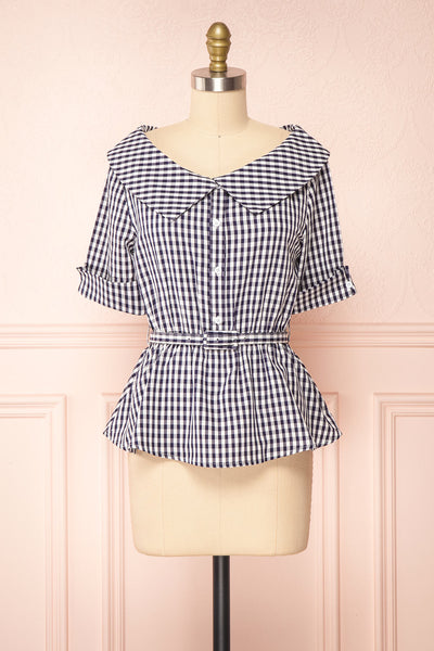 Lisa-Maria Navy Blue Gingham Peplum Top | Boutique 1861 front view