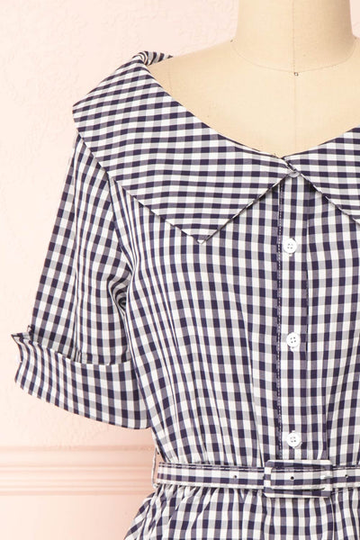 Lisa-Maria Navy Blue Gingham Peplum Top | Boutique 1861 front close-up