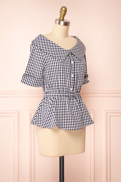 Lisa-Maria Navy Blue Gingham Peplum Top | Boutique 1861 side view