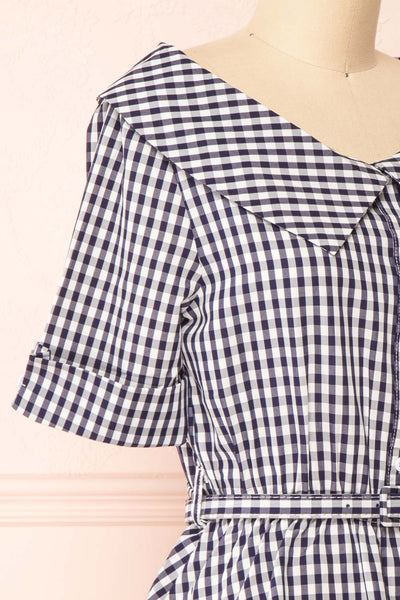 Lisa-Maria Navy Blue Gingham Peplum Top | Boutique 1861 side close-up