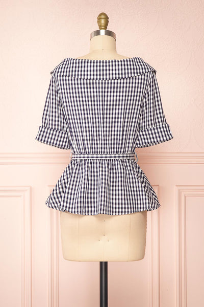 Lisa-Maria Navy Blue Gingham Peplum Top | Boutique 1861 back view