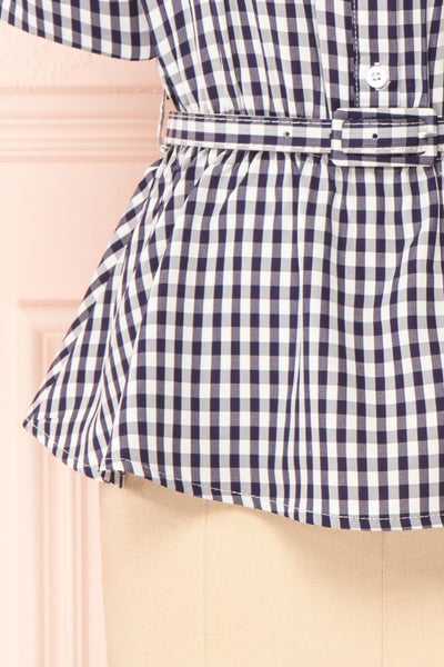 Lisa-Maria Navy Blue Gingham Peplum Top | Boutique 1861 bottom