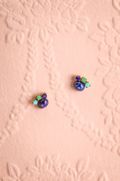 Lise Meitner Gold & Blue Stud Earrings | Boutique 1861