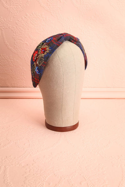Liseron Blue & Red Plaid Beaded Bow Fabric Headband | Boutique 1861