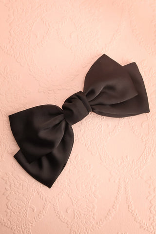 Listere Noir Oversized Black Satin Bow Hair Clip | Boutique 1861