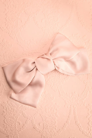 Listere Rose Oversized Blush Satin Bow Hair Clip | Boutique 1861