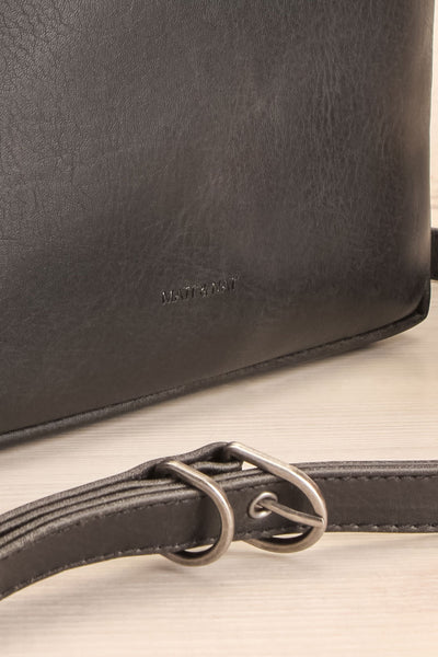 Liva Black Vegan Boxy Crossbody Bag strap close-up | La Petite Garçonne