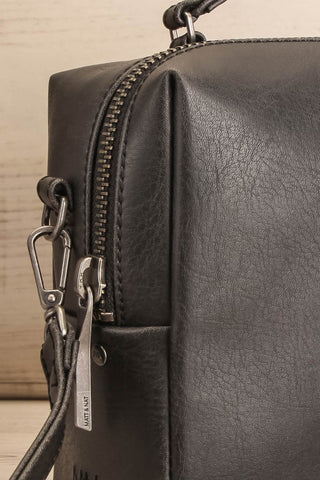 Liva Black Vegan Boxy Crossbody Bag side close-up | La Petite Garçonne