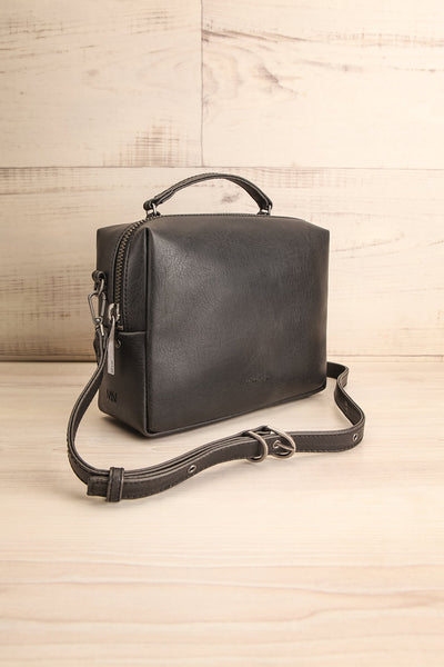 Liva Black Vegan Boxy Crossbody Bag side view | La Petite Garçonne